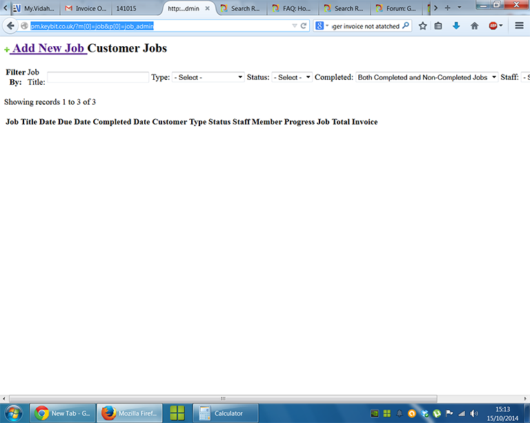 Screenshot of the page rendered after clicking the JOBS tab
